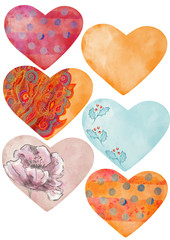Watercolor hearts set. Designe elements.