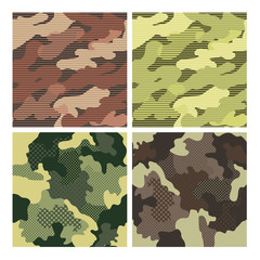 Military Striped Seamless Pattern Set. Camouflage Background. Camo Fashion Texture. Army Uniform. Vector illustration