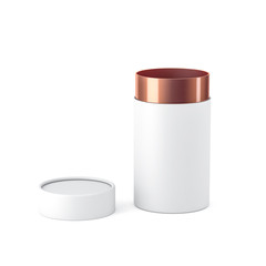 Opened White with copper gold paper tube tin can Mockup, 3d rendering