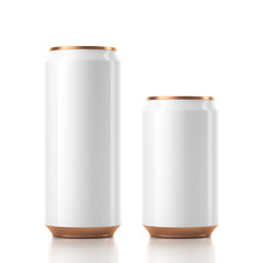 Two Aluminum Can Mockup in white and golden color. 3d rendering