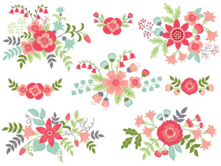 Vector Set of Pink Floral Bouquets