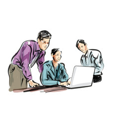 Vector color line sketch of people working in the office