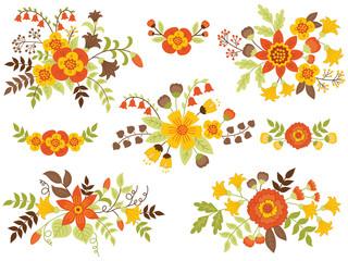 Vector Set of Autumn Floral Bouquets