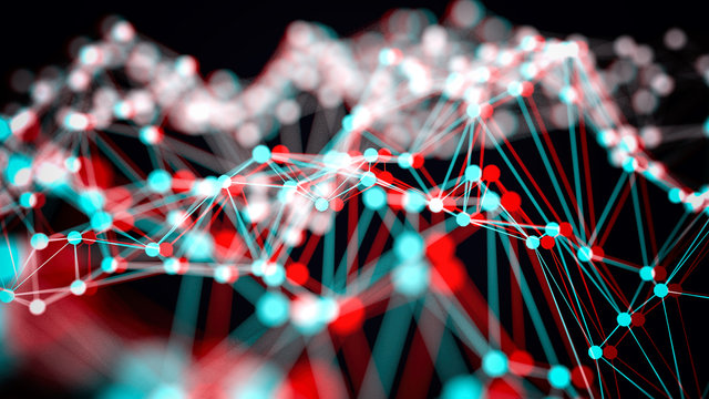 Anaglyph stereoscopic wireframe of light 3d illustration