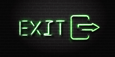 Vector realistic isolated neon sign of Exit for decoration and covering on the wall background.