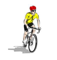 Vector color line sketch cyclist