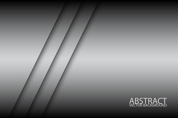 Abstract background with two grey stripes, oblique lines, grey creative vector background