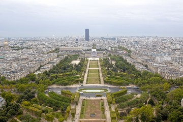 Mars field and the Montparnasse building from aerial view in Paris, France