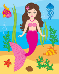 Vector Beautiful Mermaid and Sea Life Elements