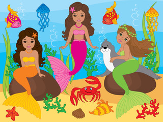 Vector Set of Beautiful African American Mermaids and Sea Life Elements