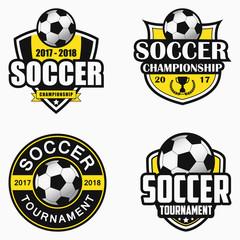 Soccer logo. Set of sports emblem designs. Vector illustration.