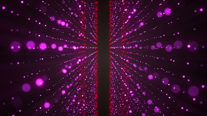 Abstract glittering stars. Colorful elements on black background. 3d rendering