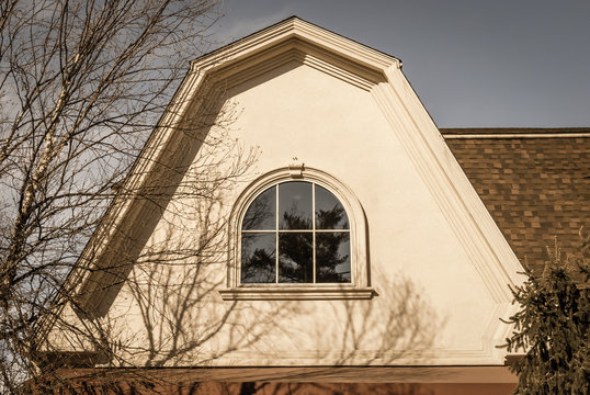 Arched Roof With Isolated Window Building With Curved Gable Roof Design Blue Sky Background Architecture Detail And Design Architectural Roof With Bay Window Arch Window Design Window Reflection Buy This Stock