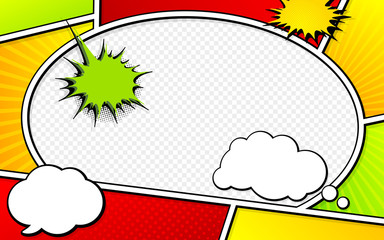 Vector mock-up of a typical comic book page with speech bubbles. Pop art style. Colorful vector illustration. Bright cartoon comics
