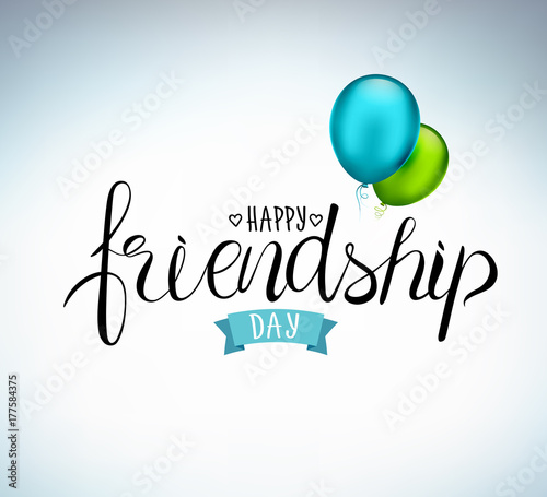 Happy Friendship Day Holiday Of The Best Friends Hand Drawn Congratulatory Inscription With Colorful