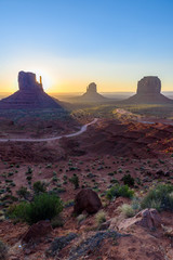 Sunrise at Monument Valley, Panorama of the Mitten Buttes - seen from the visitor center at the Navajo Tribal Park - Arizona and Utah, USA