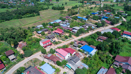 Top view  of landscape village countryside ,thailand