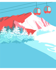 Mountains cableway background