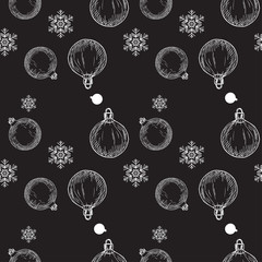 Pattern With Christmas Balls and snowflakes on a black background. Vector illustration.
