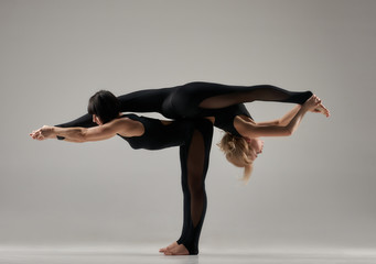 Doing yoga asana