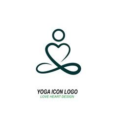 yoga icon logo, hand drawing graphic design heart shape design,