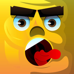 Angry face with aggressive facial expression. Vector cartoon illustration.