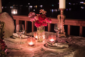 Romantic Outdoors Table Setting For Two.