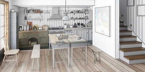 Küche illustriert (panoramisch)