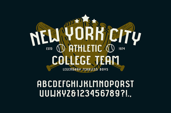 Sans serif font in the sport style and baseball badge for t-shirt
