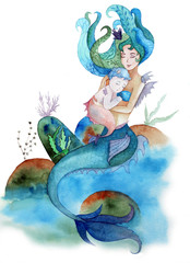 Watercolor hand paint mermaid holding a baby mermaid, on white background