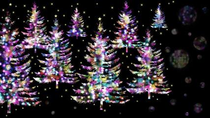 輝くイルミネーション、夜のクリスマスツリー