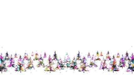 輝くイルミネーション、雪の中のクリスマスツリー