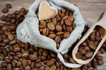 Coffee beans - coffee beans in a linen bag - selective focus