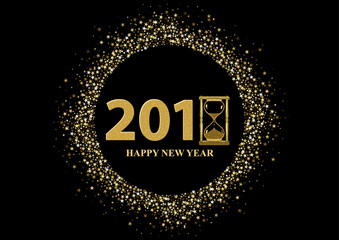 Happy New Year Greeting with Golden Stars on Black Background - Glittering Illustration, Vector