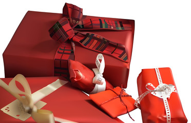 Red Christmas Gifts on White Background - Detailed Illustration, Vector