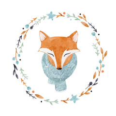 Watercolor fox vector portrait