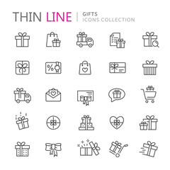 Collection of gifts thin line icons