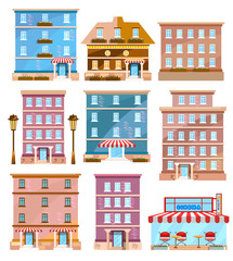 Buildings city vector. Modern city houses flat set. Houses and shops template for design