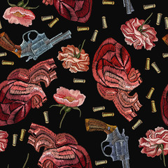Embroidery guns, flowers peonies and anatomical hearts. Creative fashion embroidery wild West, gangster background, vintage revolvers, flowers roses and red anatomical hearts