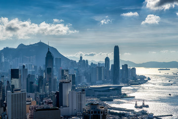 Wall Mural - Hong Kong City skyline before sunset