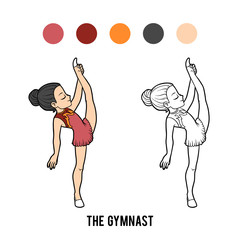 Coloring book, The gymnast girl