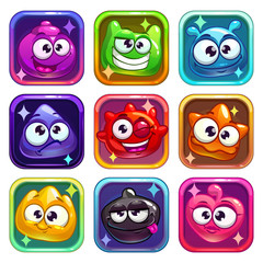 Colorful app icons with funny jelly characters.