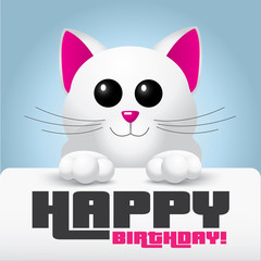 Cute white cat with pink nose holding a happy birthday card - vector illustration