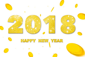 2018 Happy new year. Gold Numbers of greeting card of Falling gold money. Happy New Year Banner with 2018 Numbers on white Background.