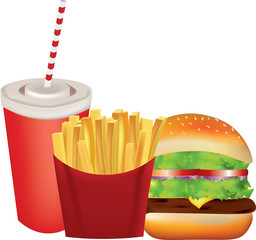 Fast food set, soda, french fries and burger