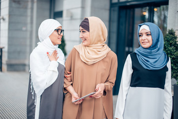 Three Muslim Female Friends Walking