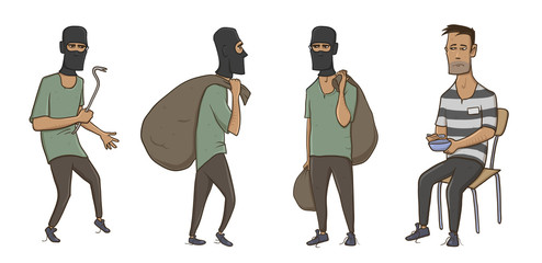A burglar, robber, thief. Man in balaclava mask with huge sack and crowbar. A criminal in prison in striped clothes. Vector Illustration, isolated on white background.