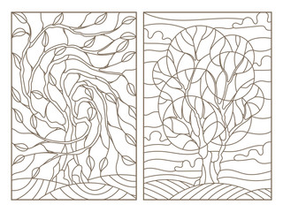 Set contour illustrations of stained glass with the image of the trees