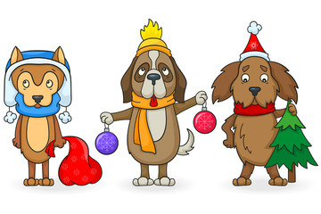 Set of cartoon dogs with Christmas attributes, painted figures on white background, isolate
