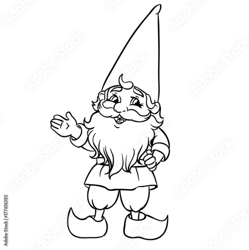 Cute Cartoon Garden Gnome Vector Illustration Outlined For Coloring Book